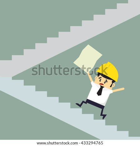 Foreman walking up to trophy, abstract illustration business concept in way to success. Flat design.