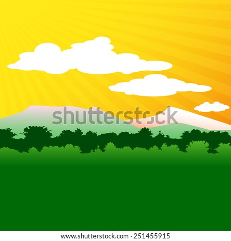 Forest and hills.  Vector illustration. - stock vector