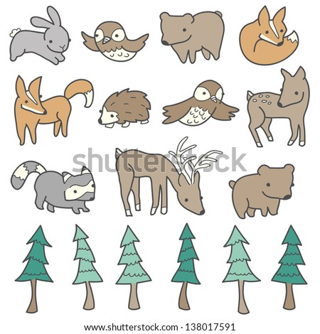 Forest animals and trees illustrated in a cute hand-drawn style. - stock vector