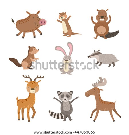 Forest Animals Collection - stock vector