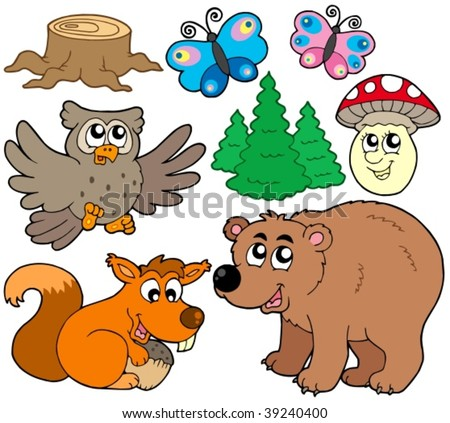 Forest animals collection 3 - vector illustration. - stock vector