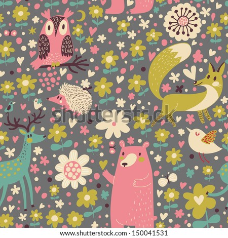 Forest animals � funny cartoon seamless pattern with Deer, Bear, Fox, Hedgehog and owl in vector. Seamless pattern can be used for wallpapers, pattern fills, web page backgrounds,surface textures - stock vector