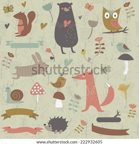 Forest animals in vector set. Bear, owl, fox, squirrel, hedgehog, birds, snail, mushrooms, flowers and butterflies in cartoon style - stock vector