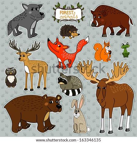 Forest animals owl deer fox set vector illustration - stock vector
