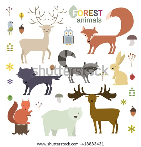 Forest animals set in flat style. Wolf, fox, raccoon, owl, deer, bear, squirrel,moose, hare isolated on white. Vector Illustration - stock vector