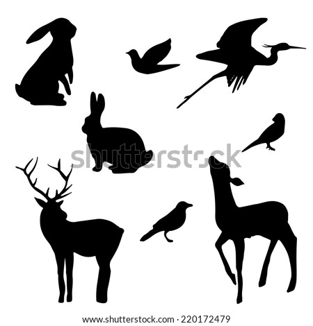 Forest animals silhouette set. Hand drawn isolated vintage illustration - stock vector