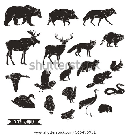 Forest animals silhouettes vintage. Vector illustration in line art isolated - stock vector