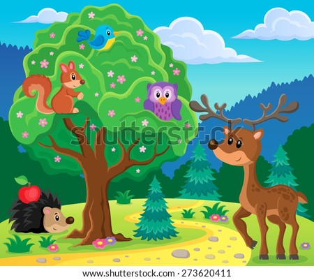 Forest animals topic image 4 - eps10 vector illustration. - stock vector