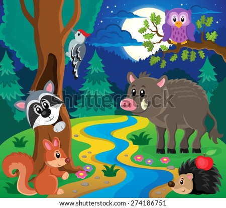 Forest animals topic image 7 - eps10 vector illustration. - stock vector