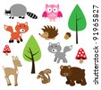 Forest Animals Vector Set - stock vector