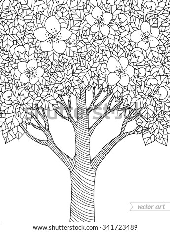 Forest apple tree flowers. Vector artwork. Love concept for invitation, card, ticket, branding, boutique logo, label, emblem. Web mobile interface. Coloring book page for adult. Black, white - stock vector