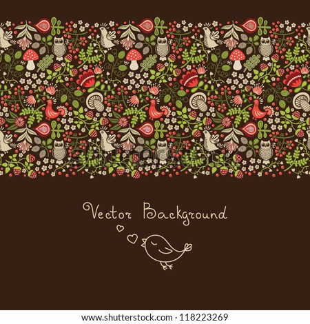 Forest background. Hand-drawn seamless ornament - stock vector
