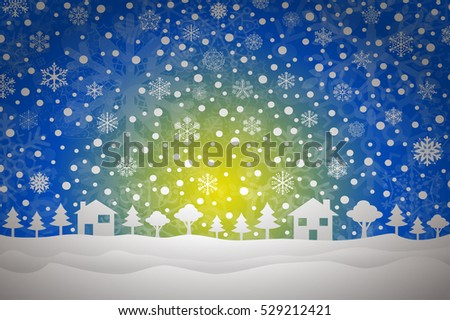 forest background with houses and sun