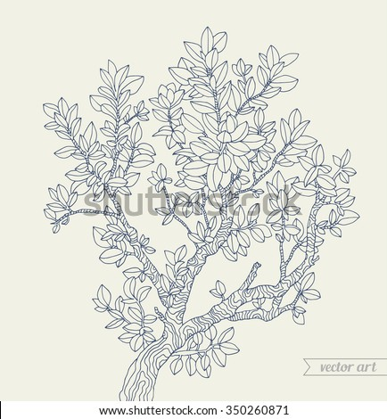 Forest boxwood tree branch with leaves. Vector illustration. Hand drawn artwork. Zentangle. Bohemia concept for invitations, cards, tickets, branding, logo, label. Dark blue grey, beige - stock vector
