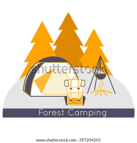 Forest Camping near the wood. Camping graphic design emblem. Wilderness adventure hiking camp at the mountain with grey and orange tourist tent, backpack and fire. Vector Illustration - stock vector