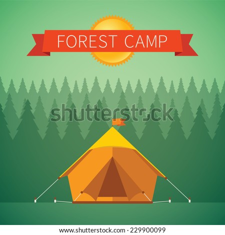Forest camping vector concept with tourist tent - stock vector