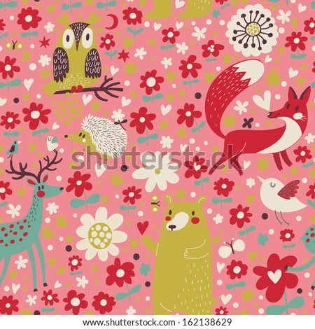 Forest concept seamless pattern with cute Bear, Fox, Deer, birds, Owl and flowes. Seamless pattern can be used for wallpapers, pattern fills, web page backgrounds,surface textures - stock vector
