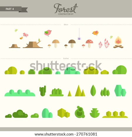 Forest constructor kit - part 4. Bushes and decorative elements. Beautiful and trendy set of flat elements. Very useful to create backgrounds and patterns - stock vector