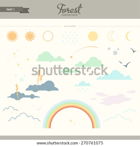 Forest constructor kit - part 1. Sky and weather. Beautiful and trendy set of flat elements. Very useful to create backgrounds and patterns - stock vector