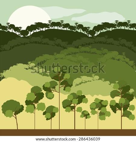 Forest design over landscape, background, vector illustration - stock vector