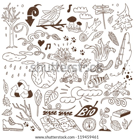 forest - doodles collection - stock vector