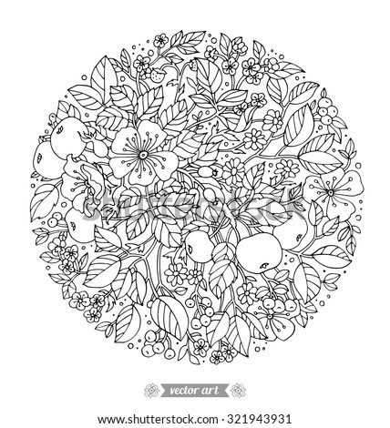 Forest flowers, wild berries, apple fruits. Vector artwork. Love bohemia concept for wedding invitations, cards, tickets, branding, boutique logo, label. Black and white. Coloring book page for adults - stock vector