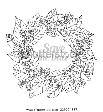 Forest Flowers Wreath Wild Berries Save The Date Vector Coloring Book Page