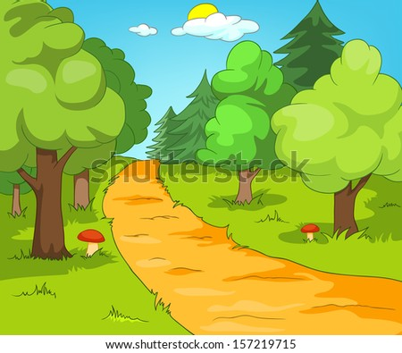 Forest Glade. Cartoon Background. Vector Illustration EPS 10. - stock vector