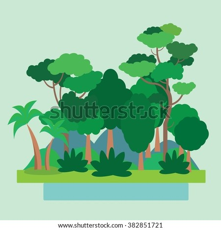 Forest Green Landscape, nature. Flat vector illustration