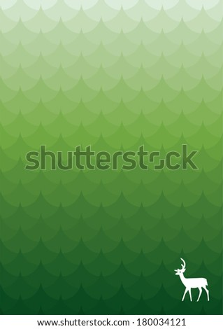 forest, green tree silhouettes with a deer - stock vector