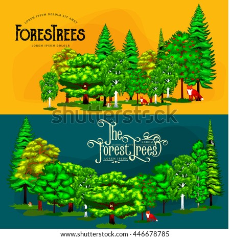 Forest green trees on the grass bush in summer landscape background. Cartoon vector set trees in outdoor park. Outdoor trees in the park with branch, foliagles and leafs. Isolated ecology natural wood - stock vector