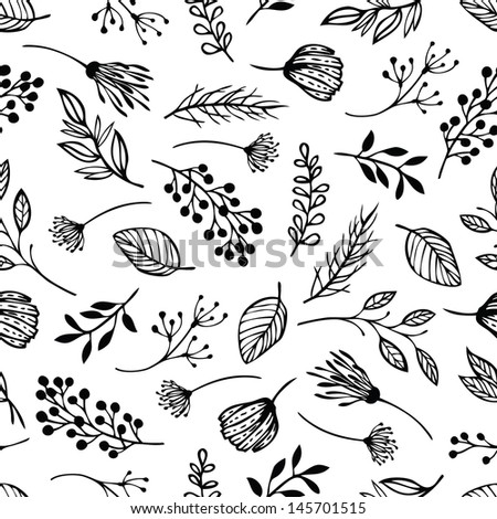 Forest herbs background - stock vector