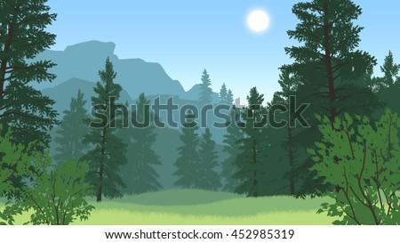forest landscape flat color illustration in day time - stock vector