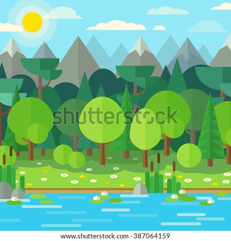 Forest landscape in a flat style. Background with green trees, rocks, flowers, grass and  river. Bright juicy background in a flat style. - stock vector