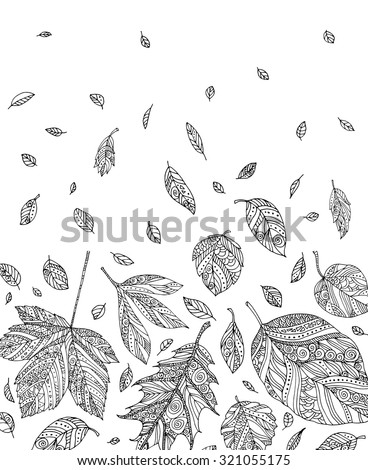 Forest leaves. Vector. Hand drawn artwork. Set collection. Bohemia concept for cards, tickets, congratulations, branding, logo, label. Web and mobile interface template. Coloring book page for adult - stock vector