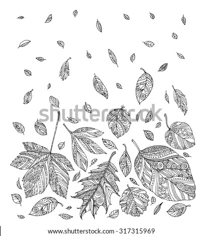 Forest leaves. Vector. Hand drawn artwork. Set collection. Bohemia concept for wedding invitations, cards, tickets, branding, logo, label. Web mobile interface. Coloring book page for adults - stock vector