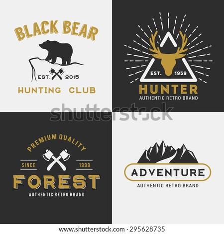 Forest mountain adventure logo design for insignia, label, emblem, sticker, printing media || vector illustration - stock vector