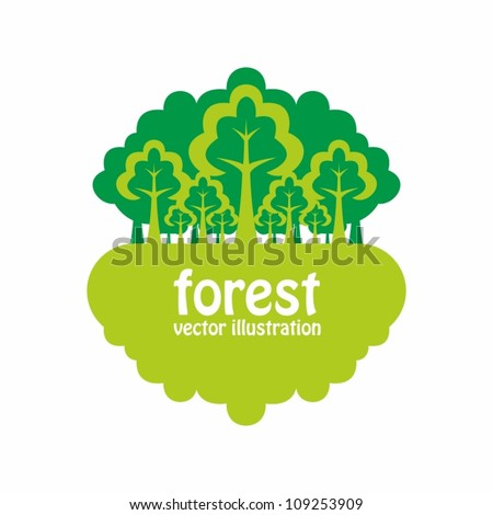 Forest. Nature background with green trees - stock vector