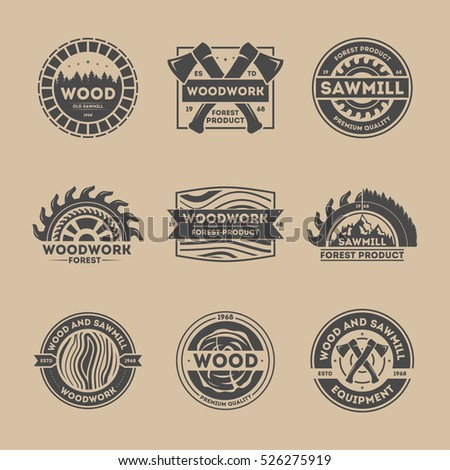 woodworking logo ideas. forest product vintage isolated set vector. woodwork logo set. wood and sawmill equipment woodworking ideas