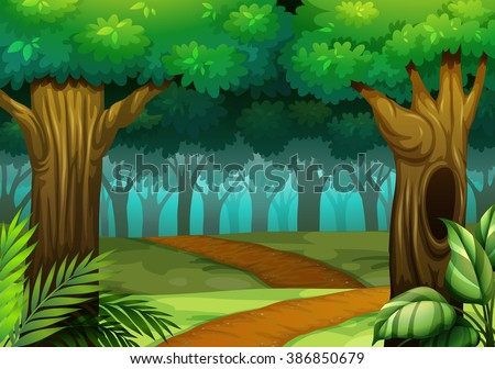 Forest scene with trail in the woods illustration - stock vector