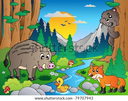 Forest scene with various animals 3 - vector illustration. - stock vector