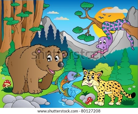 Forest scene with various animals 9 - vector illustration. - stock vector