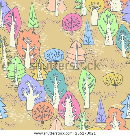 Forest seamless pattern. Funny cute trees in cartoon style. Can be used for curtains, wallpaper, pattern fills, web page background, surface textures, children's clothing. - stock vector