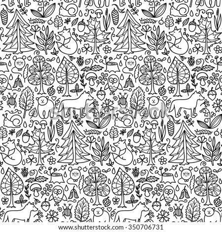 Forest seamless pattern. Vector illustration of doodle forest animals and plants seamless pattern for backgrounds, textile prints, wrapping, wallpapers - stock vector