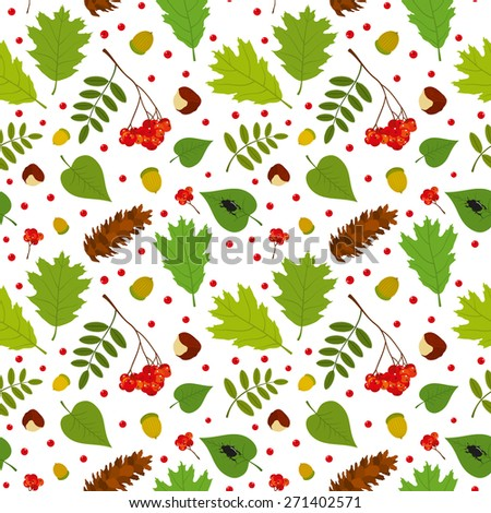 Forest seamless pattern with rowan berries, leaves, acorn, chestnut, pine cone, beetle. Vector set. White background. - stock vector
