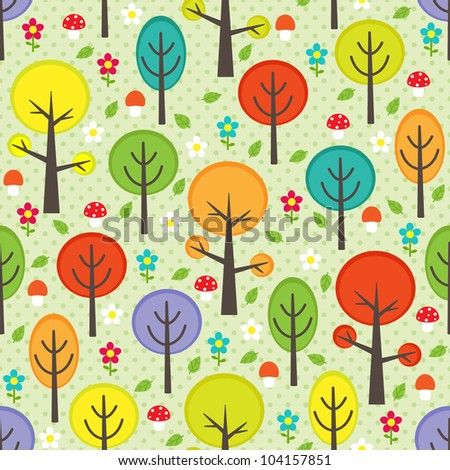 Forest seamless pattern with trees, leafs, mushrooms and flowers. - stock vector