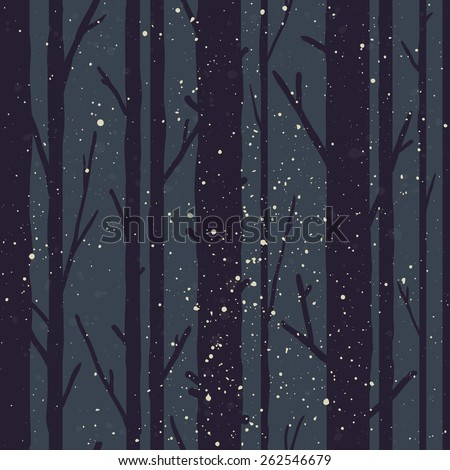 Forest seamless pattern with trees. Seasonal background. - stock vector