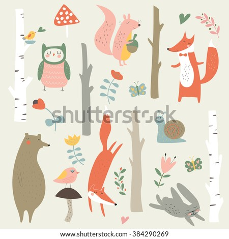 Forest set with cute trees, owl, fox, bear, bunny, snail, squirrel, birds, flowers and mushrooms in cartoon style - stock vector
