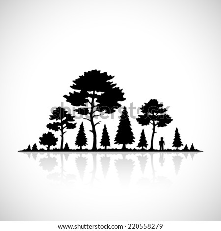 Forest silhouette icon. - stock vector