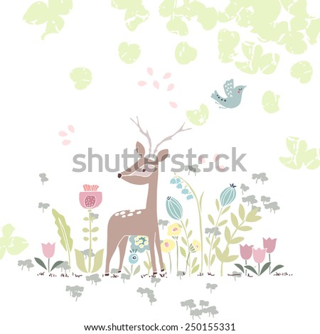 forest theme card with deer in flowers - stock vector
